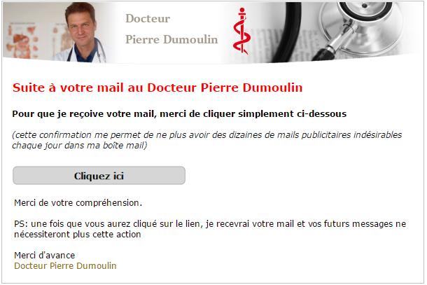 Exemple de mail que va recevoir vos correspondants non autorisés