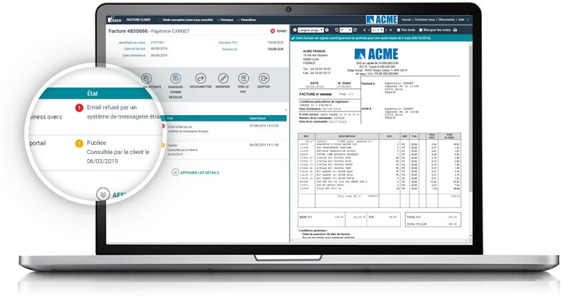 Interface de la solution : Dématérialisation des factures clients