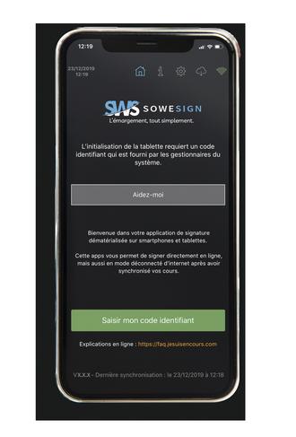 Page d'accueil de l'application