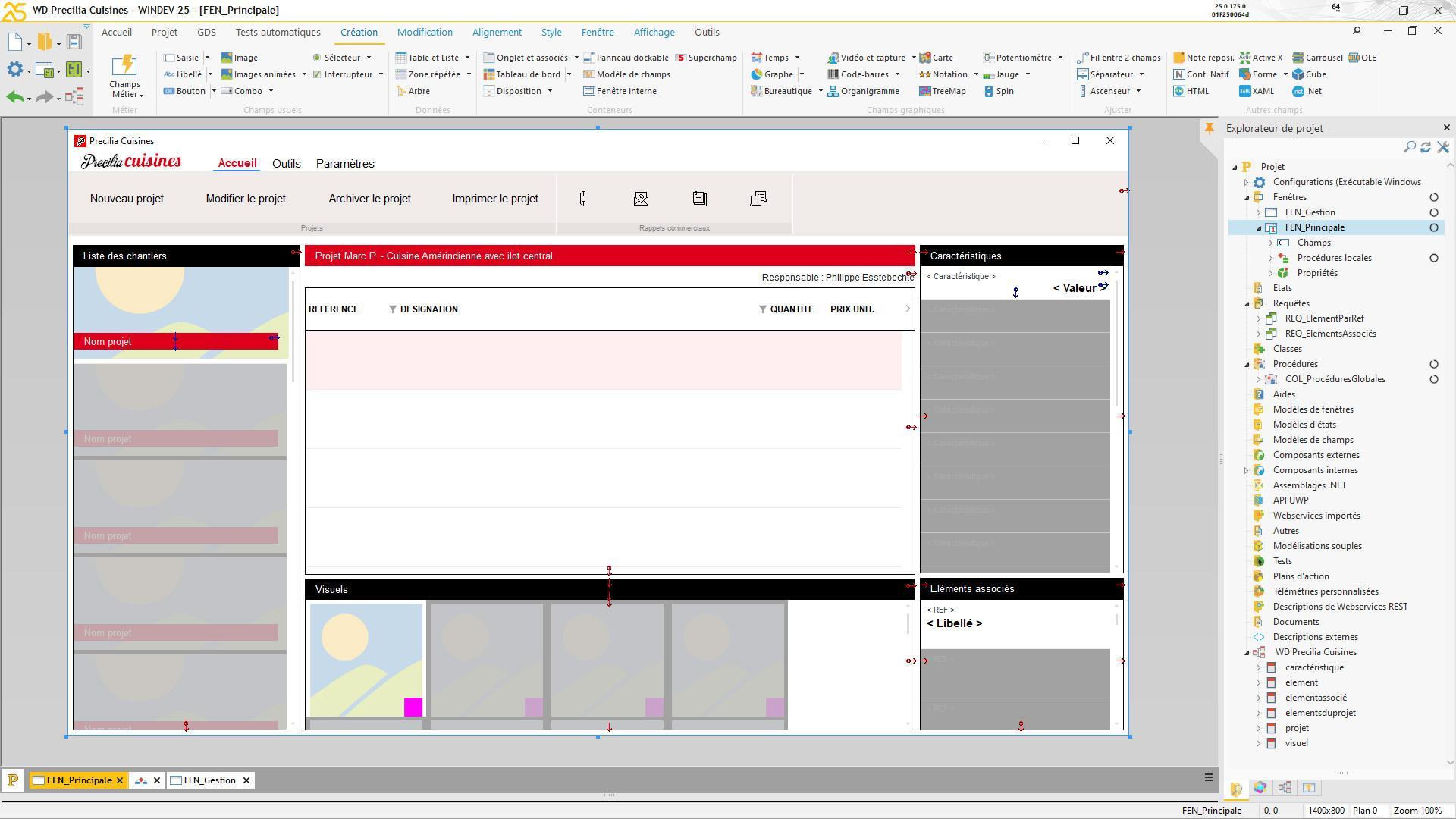 WINDEV : éditeur principal avec ici une fenêtre en cours de création