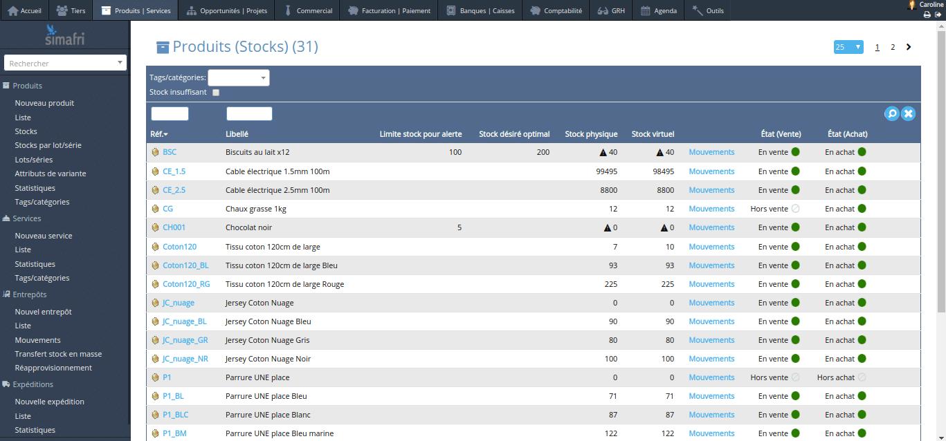 Liste des produits en stock