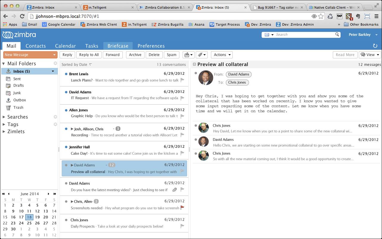 Zimbra: Gestion des utilisateurs, Gestion des droits, Interface web adaptive