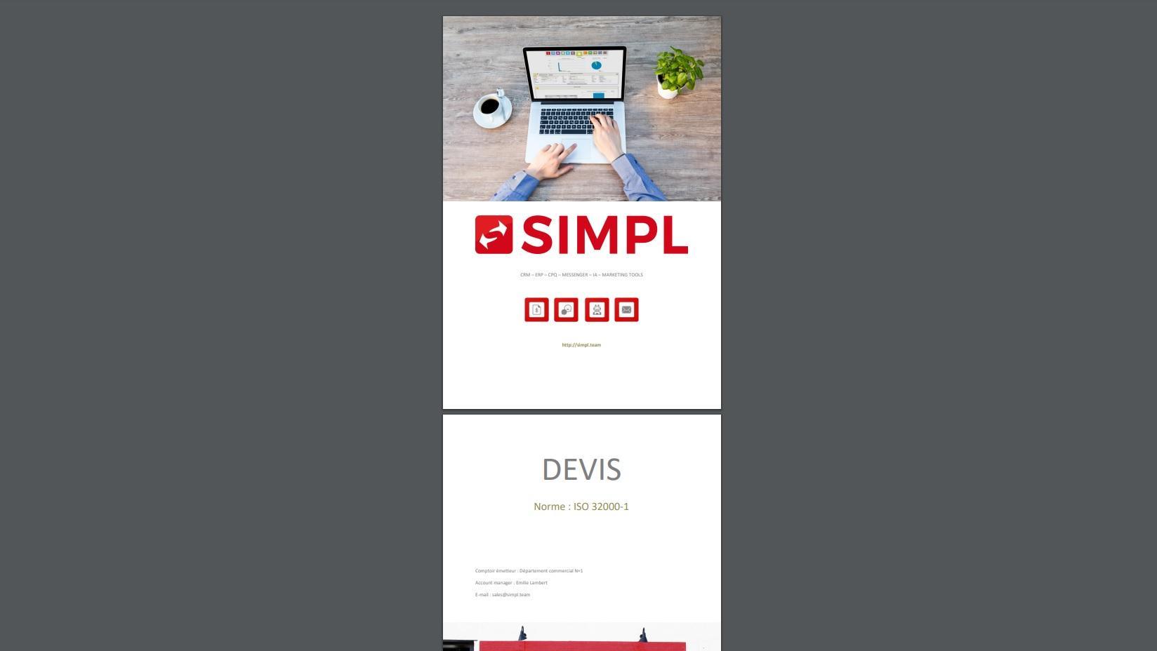 Mise en page avec couverture, intercalaire, témoignage client et fiches techniques des produits et/ou services.
