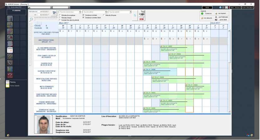Planning des intérimaires en contrat
