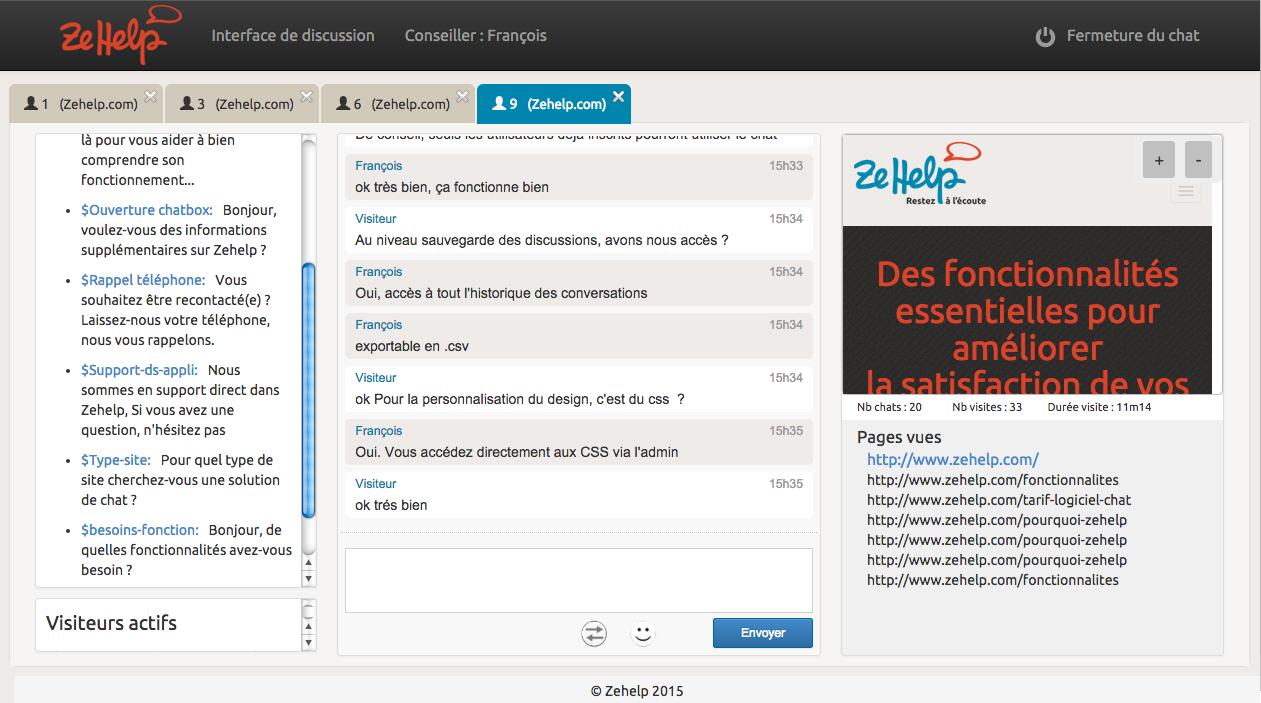ZeHelp: Support (téléphone, email, ticket), Profil client, Suivi de la satisfaction client