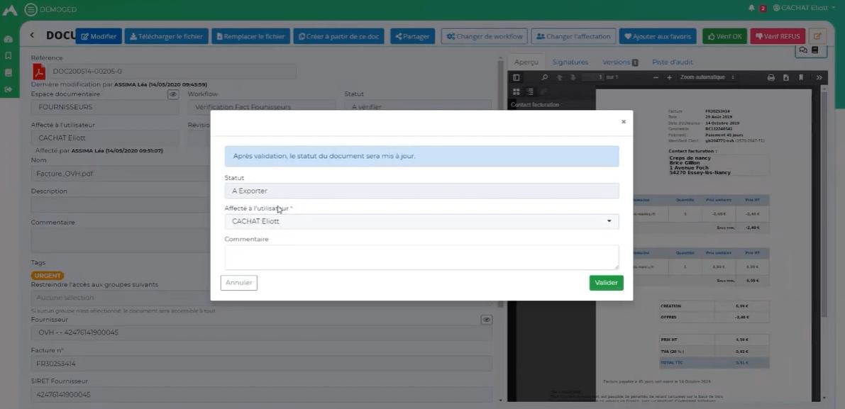 O'GED - Workflow de validation d'une facture fournisseur