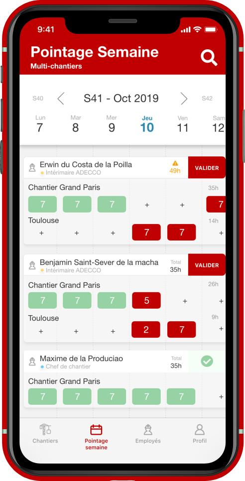 Vue pointage semaine mobile
