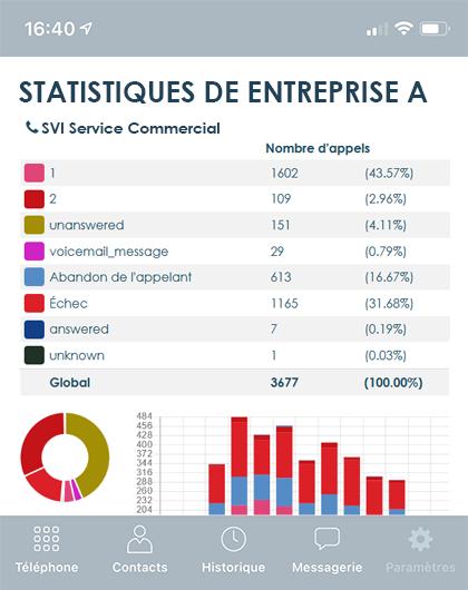 Exemple rapport statistique des appels sur smartphone