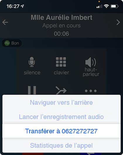 Fonctionnalité transfert d'appel depuis un mobile