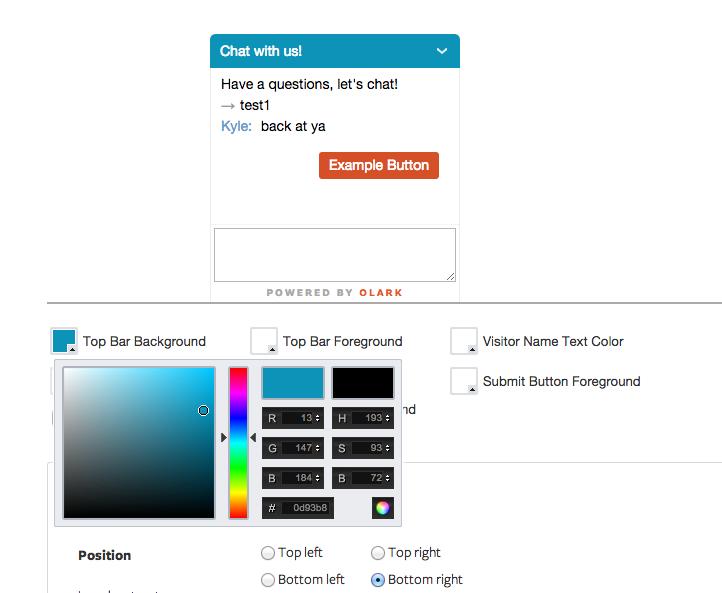 Olark: Site Web (plugin, formulaire), Profil client, Help Desk