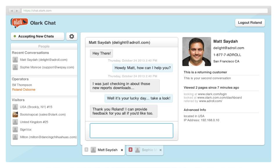 Olark: API, Web service, Application mobile, Communauté (FAQ, Forum)