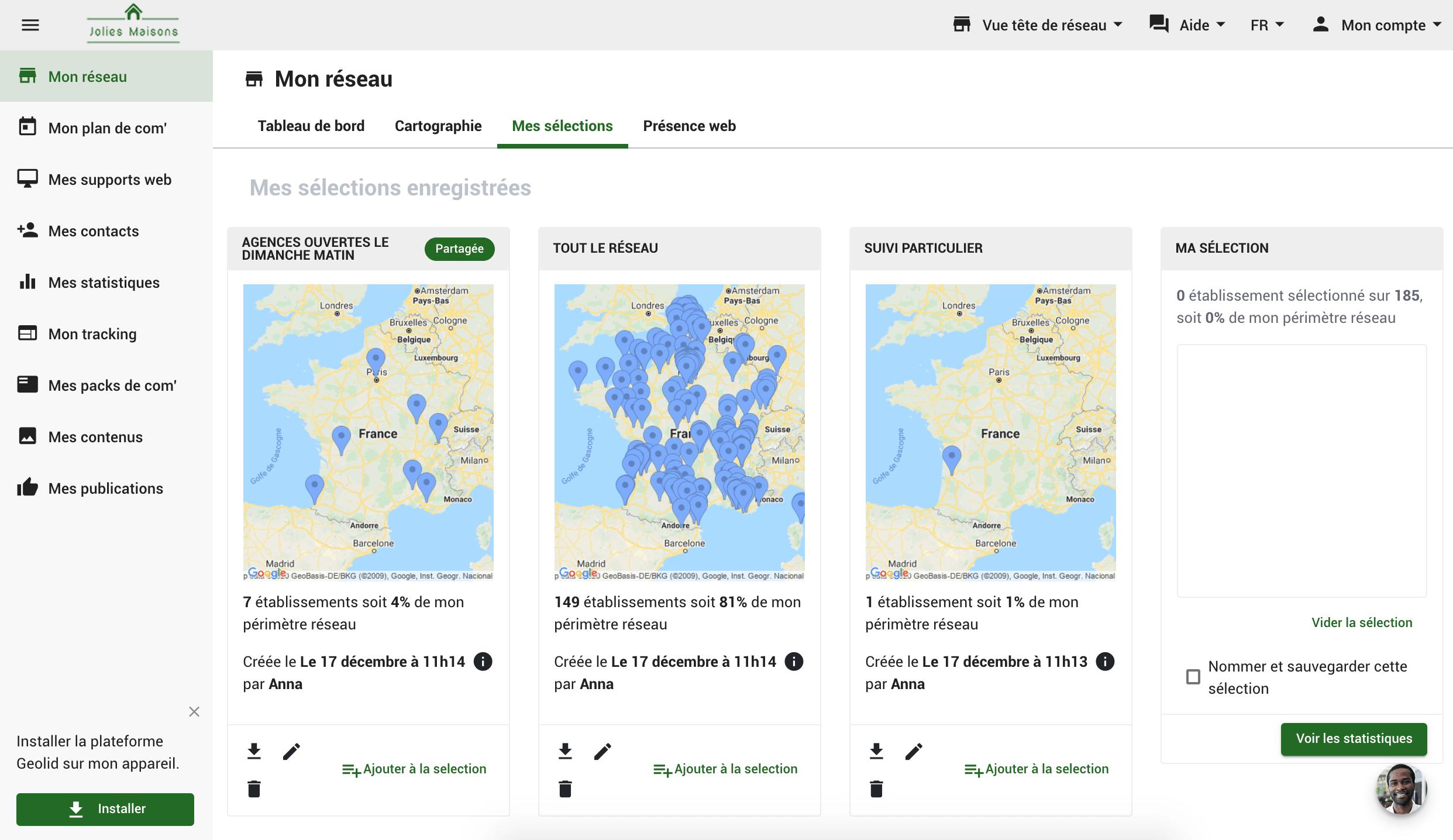 Geolid-Mon réseau carte
