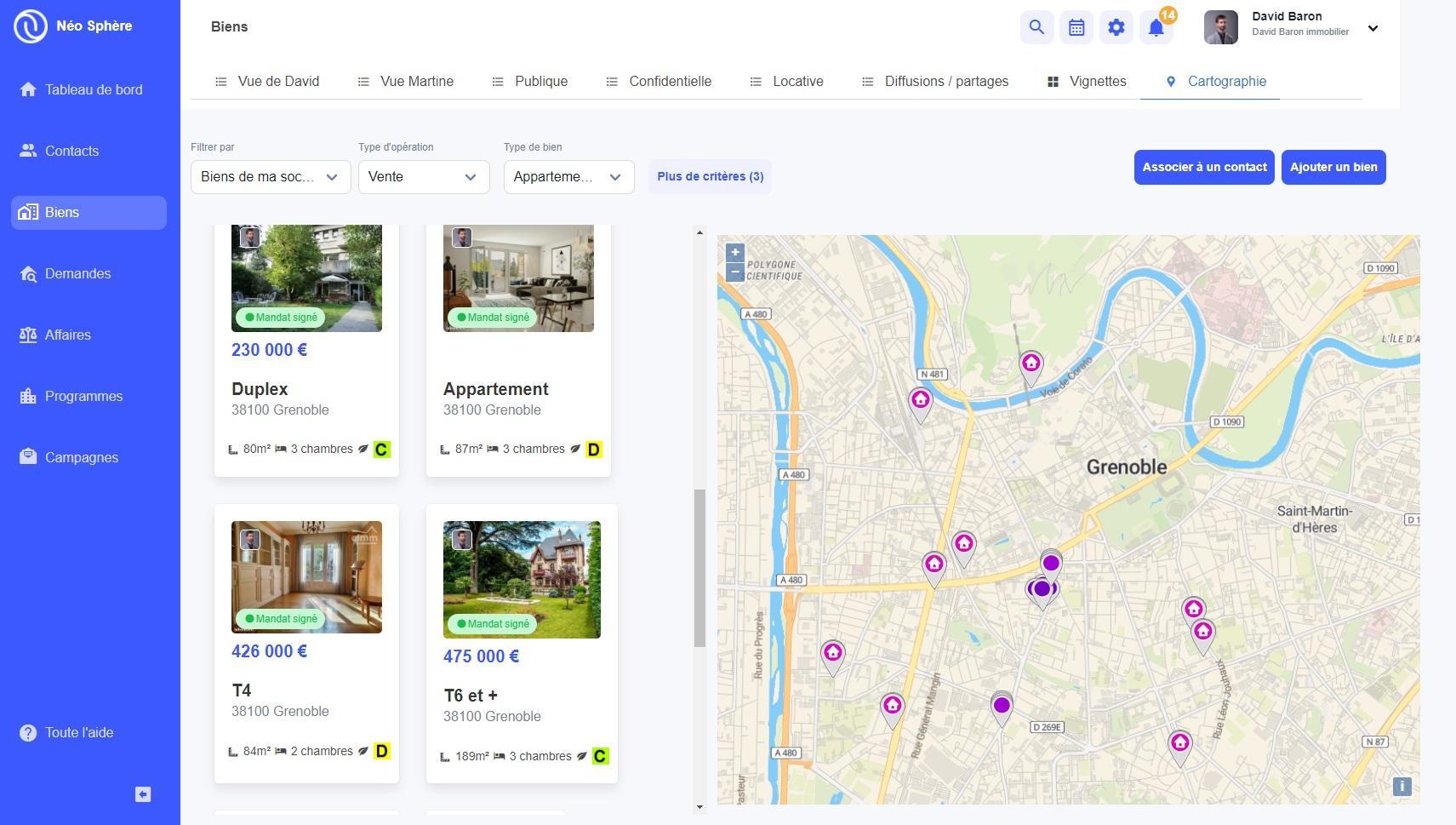 Cartographie des biens correspondant à la recherche