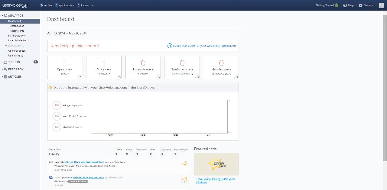 UserVoice: Interface client, Remontée des problèmes, Communauté de clients (Forum, FAQ)