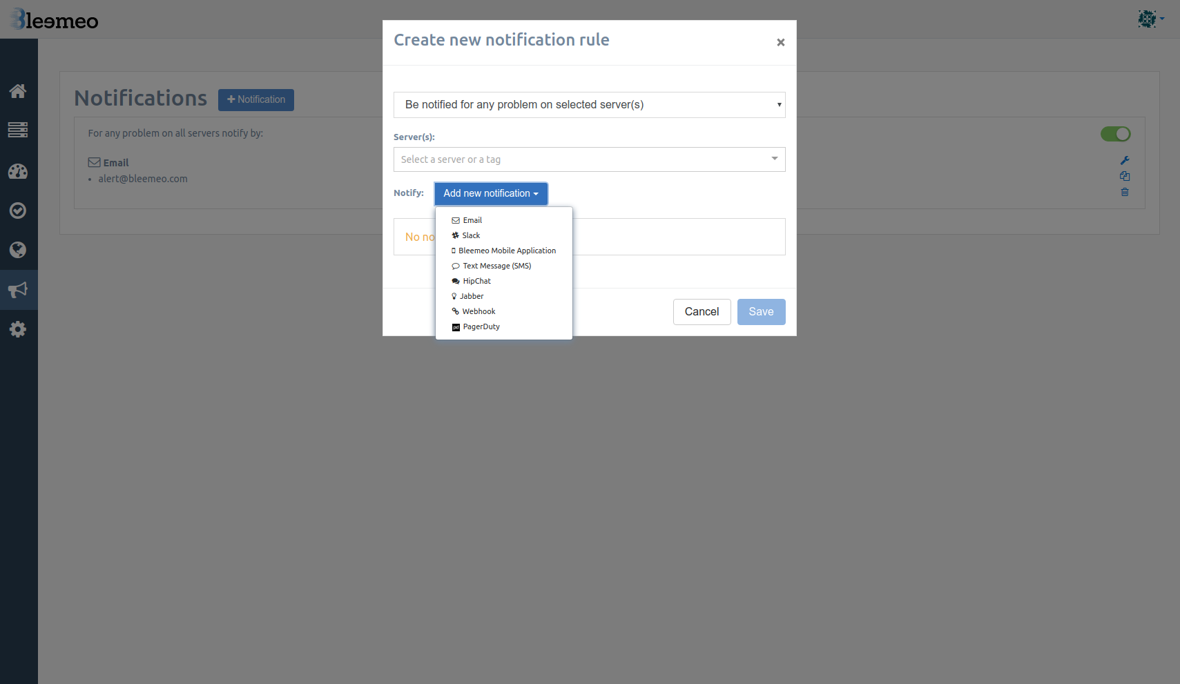 Alerting with Slack, Emails and mobile applications