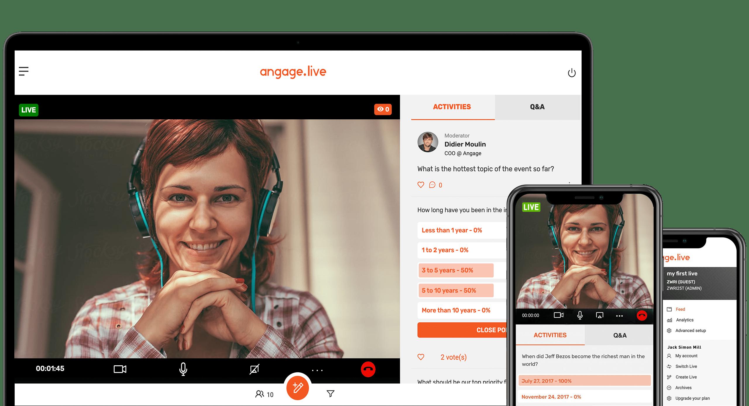 Avis Angage Live : Application collaborative : vidéo en direct, sondages, Q&A - Appvizer