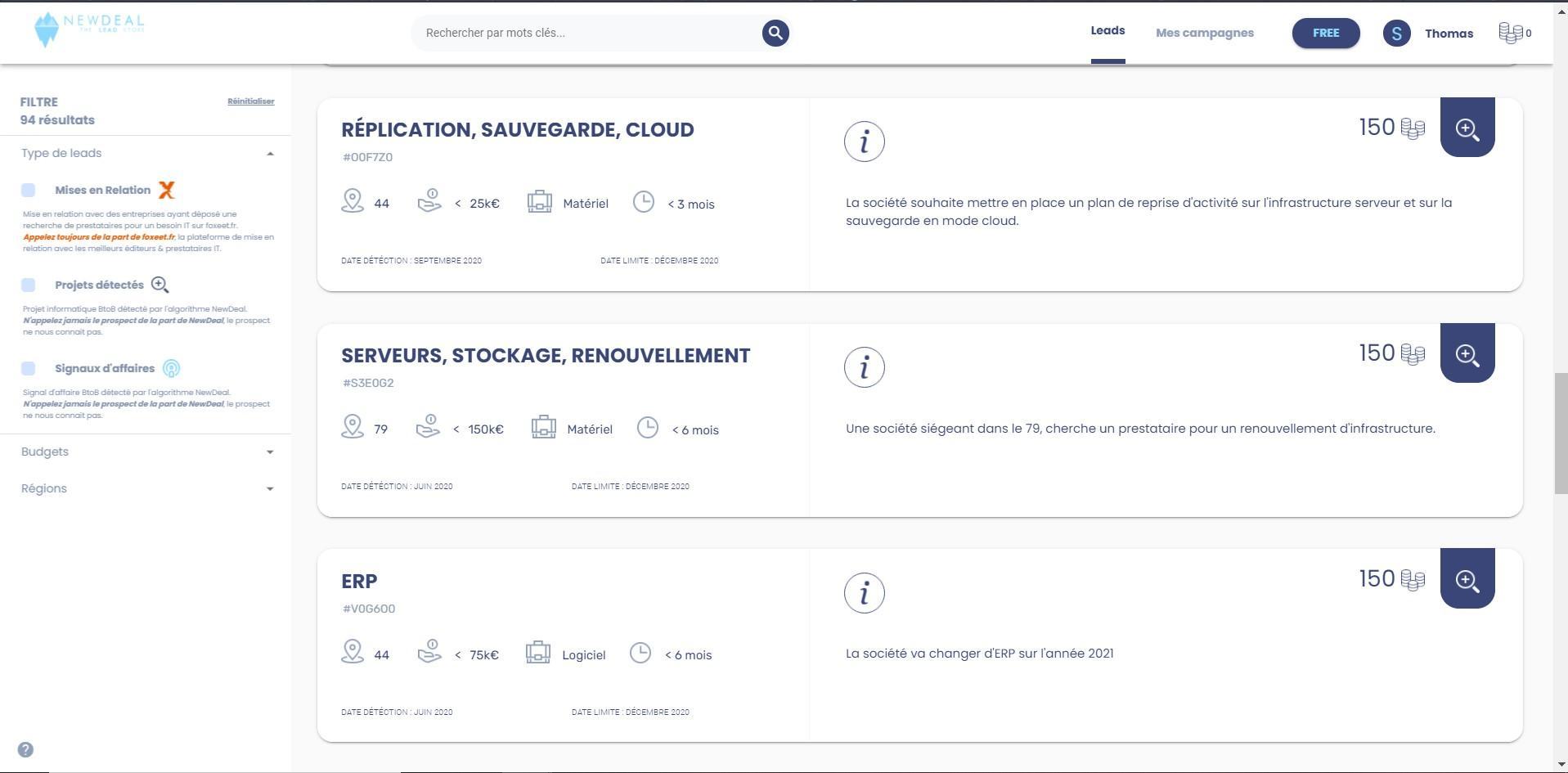 app.newdealtheleadstore.com - Desktop - plateforme d'aide à la prospection - spécialiste de la détection de projet informatique B2B