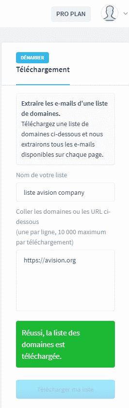 Logiciel de génération clients-Extraction email avec une liste de domaine