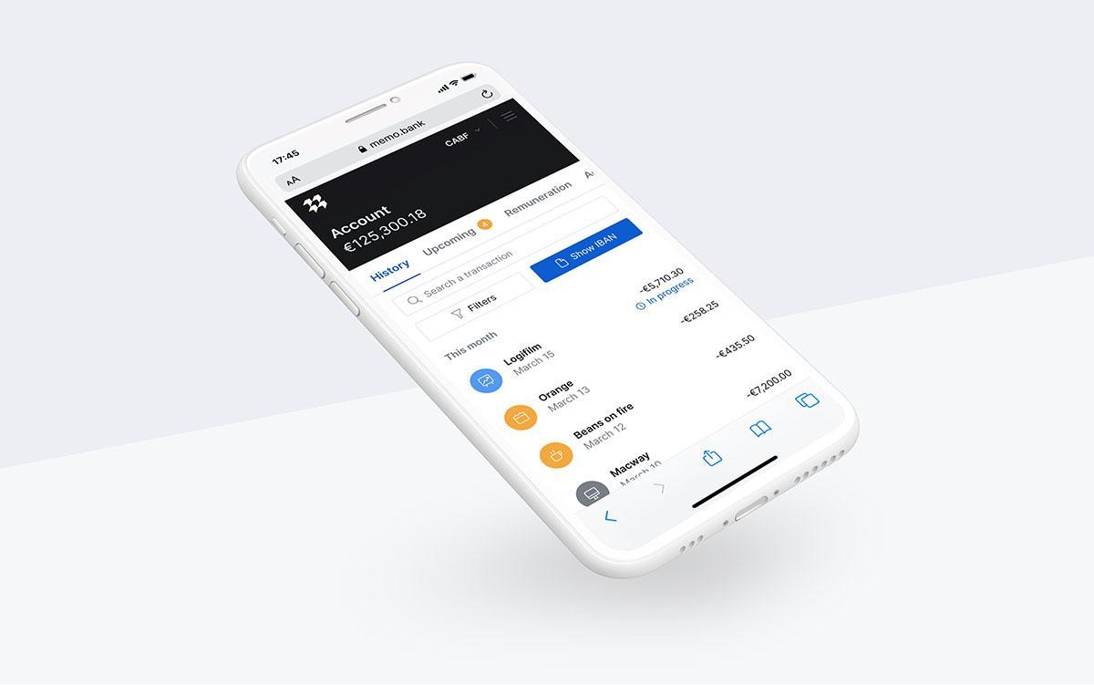 Compte courant Memo Bank, version mobile