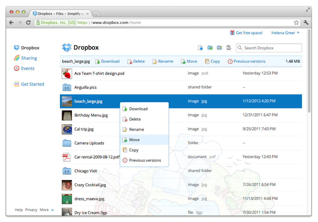 DropBox: Dossiers partagés, Audits & Certifications (SAS 70, ISO 27001/2, TRUSTe), Visionneuse de documents