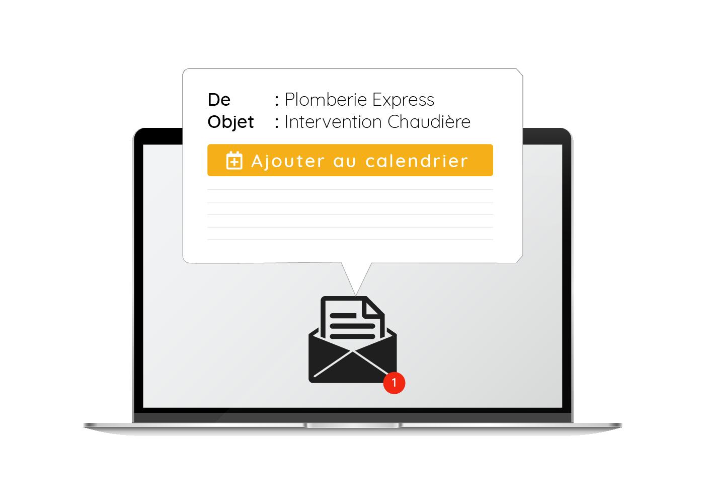 Rappels e-mail avec intégration des évènements aux agendas externes (Outlook, Google Calendar, Apple Calendar...)