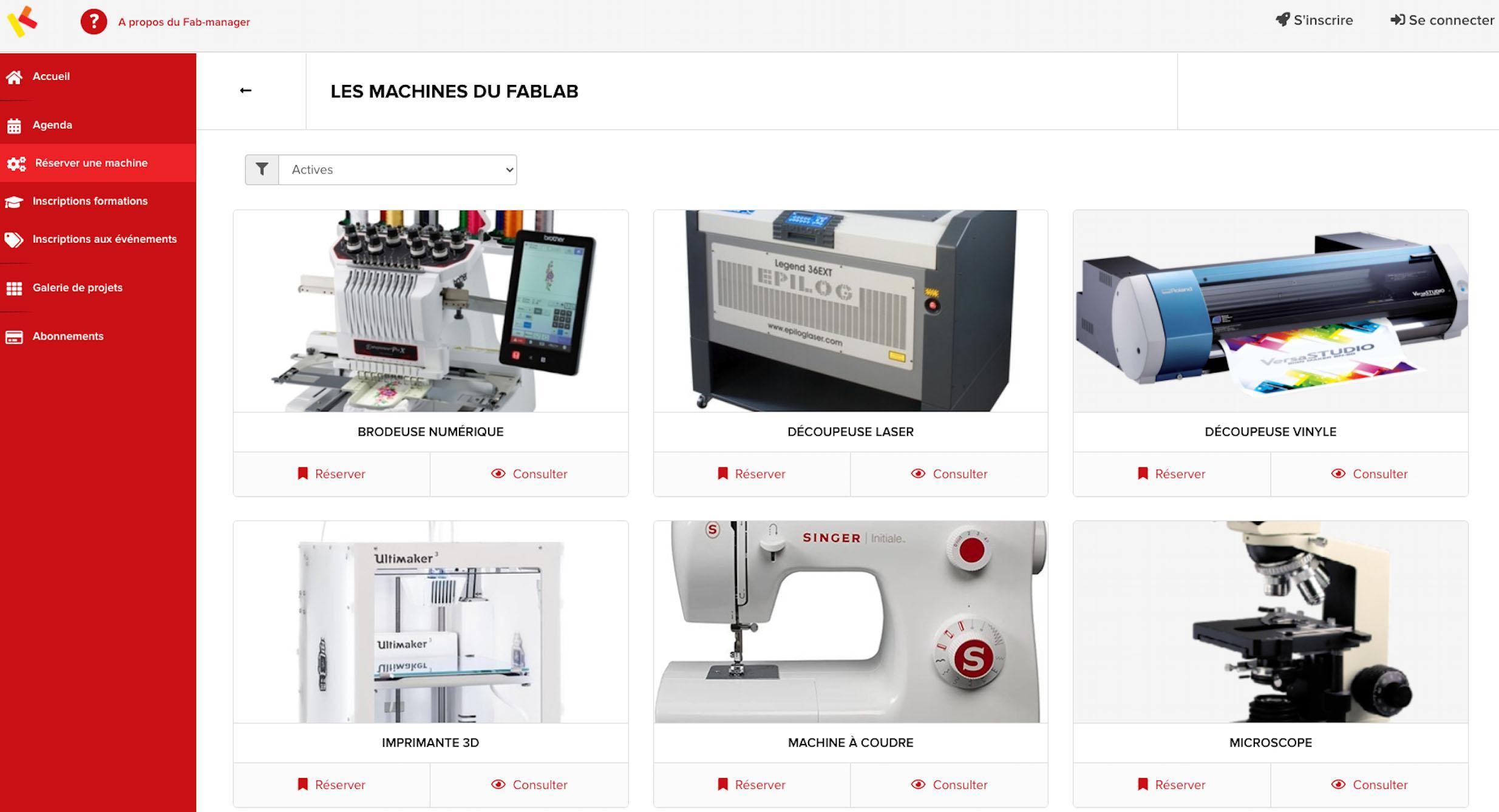 Affichez vos imprimantes 3D, découpeuses, fraiseuses, petit matériel... permettez à vos usagers de les réserver sur les créneaux disponibles.