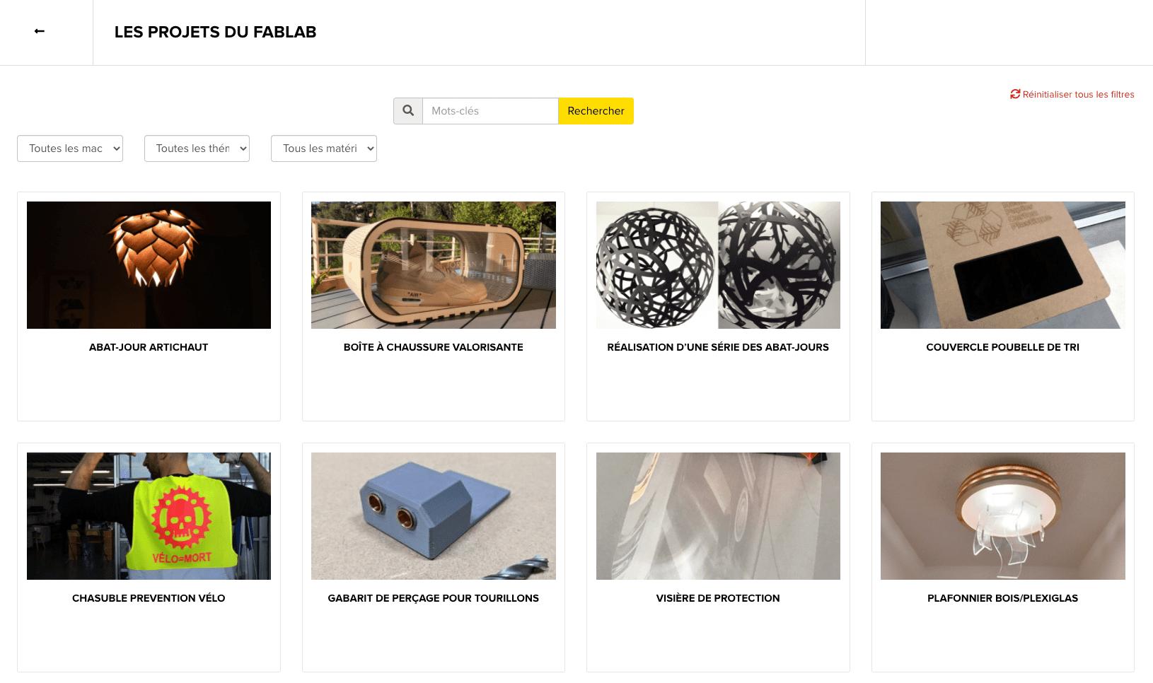 Favorisez le partage d'expériences et de savoirs, grâce à cette galerie qui réunie tous les projets documentés et publiés par vos membres.
