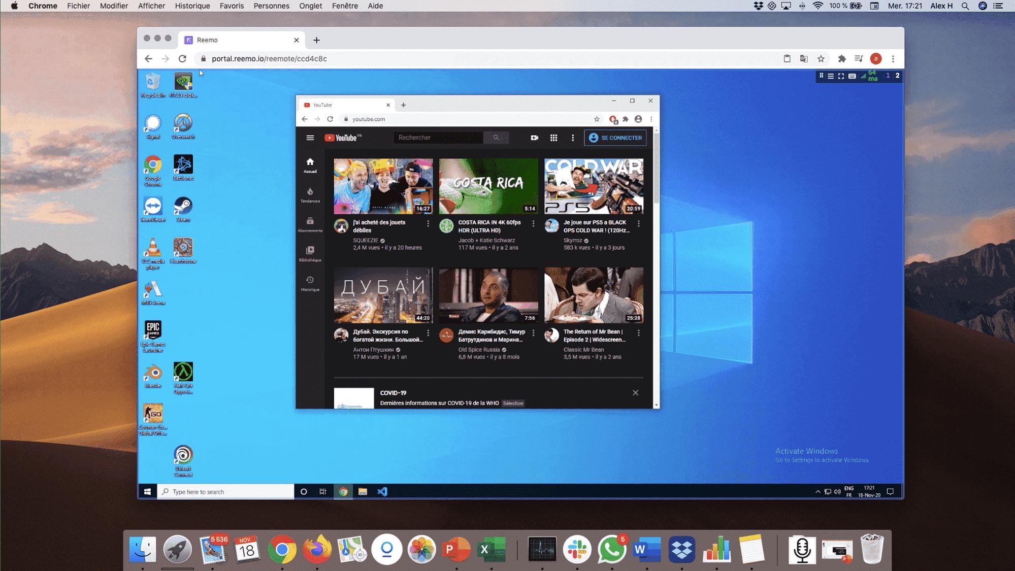 Depuis un mac personnel, j'accède en streaming à mon PC pro sous windows