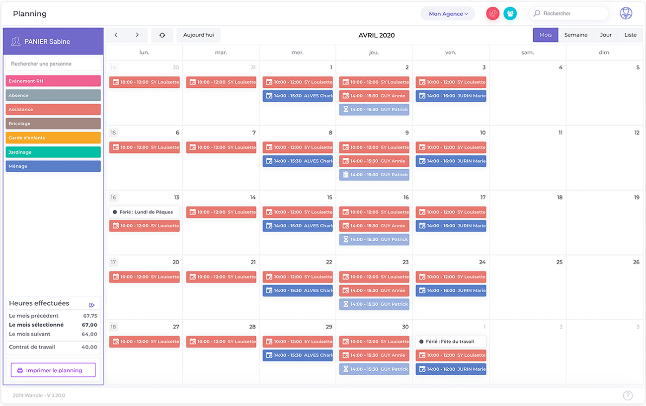 Planning - Visualisation, gestion des prestations, création d'évènements..