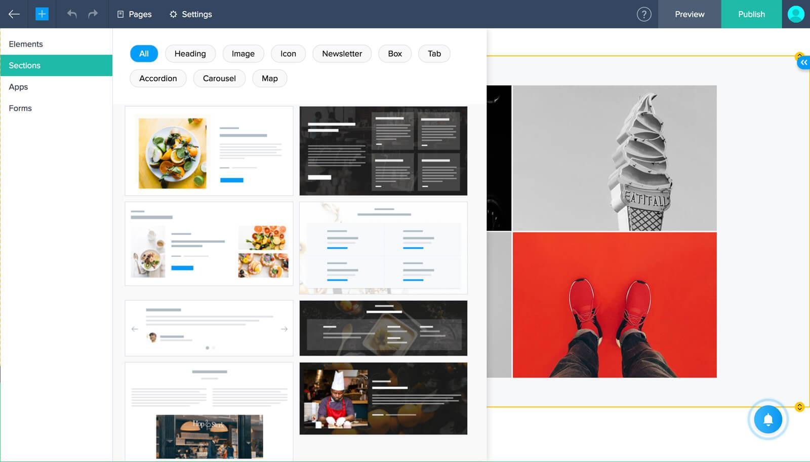 Zoho Sites-create-sections