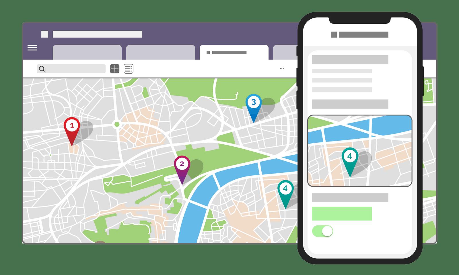 De localiser vos chantiers, vos sites ou vos clients sous forme de cartes.
