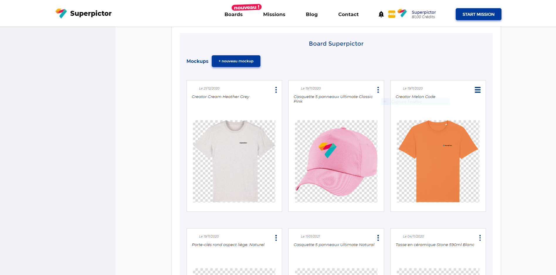 Collectez vos logos et mockups sur le customer board