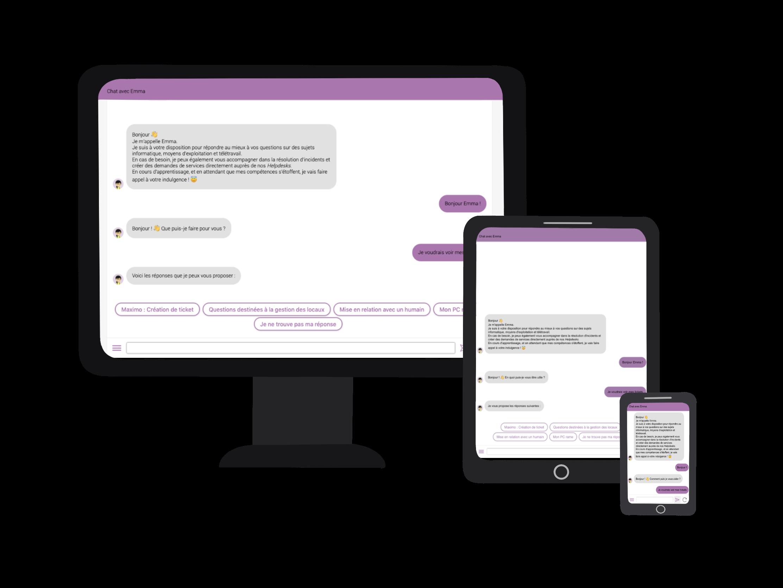 Vue de notre fenêtre de chatbot parfaitement responsive et disponible sur tous vos supports !