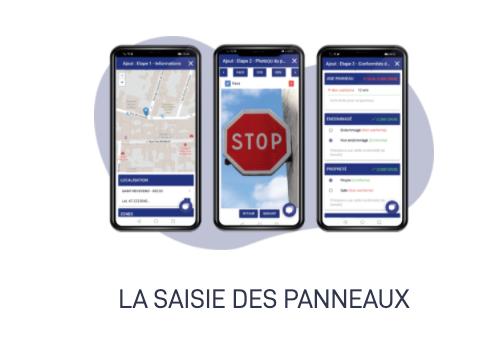 L'application mobile et tablette permet de localiser précisément chaque panneau de votre parc, de le prendre en photo et de saisir ses caractéristiques de façon simple et intuitive.