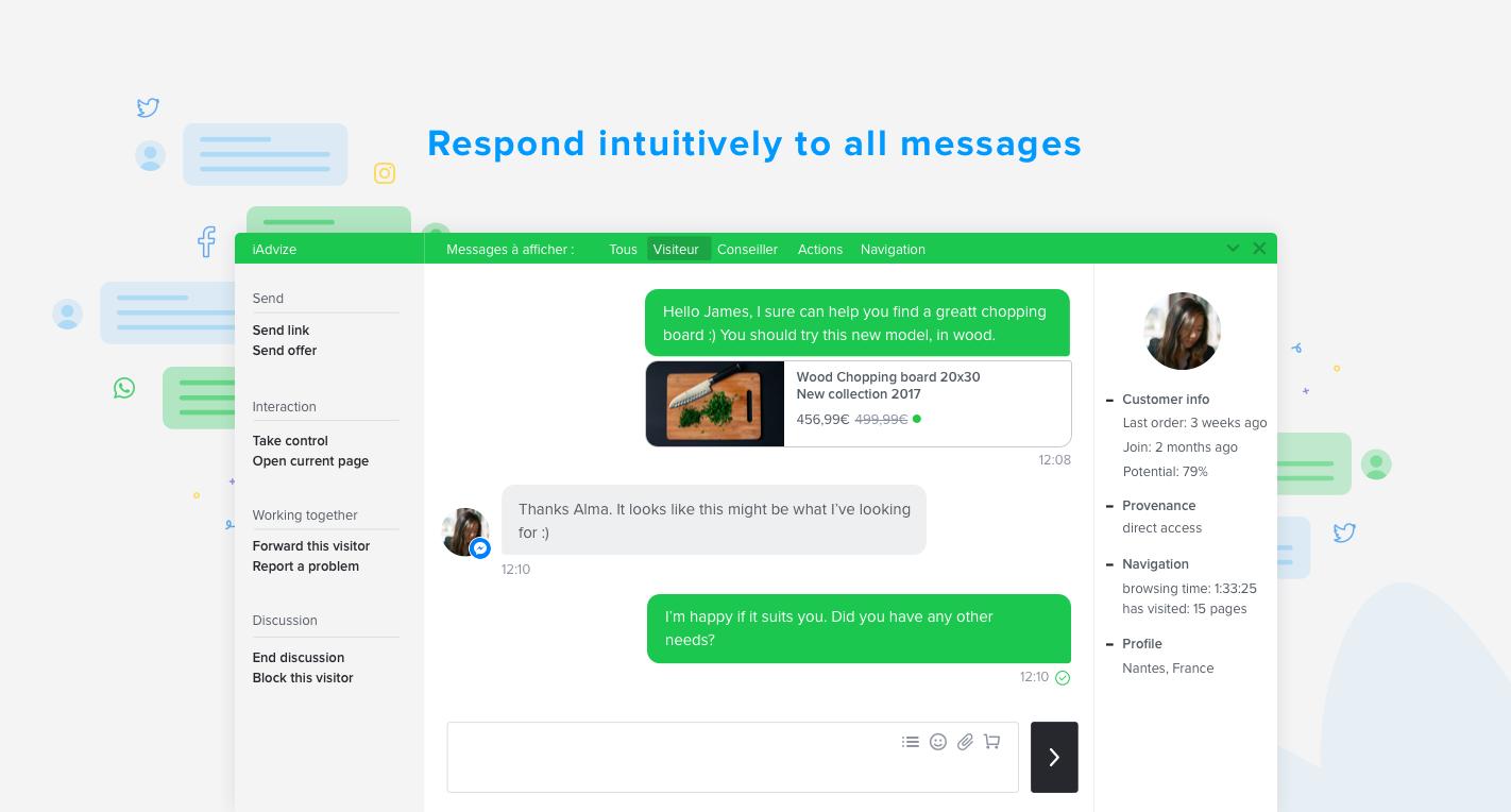 Engagez une conversation avec vos clients en temps réel sur tous les canaux via une seule et même plateforme
