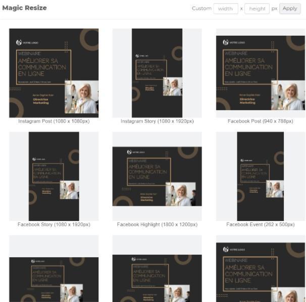 Le Magic resize pour redimensionner rapidement les designs selon les formats des medias sociaux