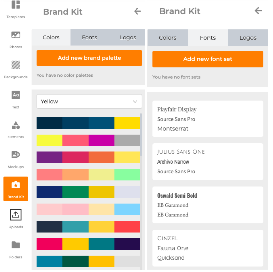 Outil Brand kit pour enregistrer les polices et les couleurs adaptes