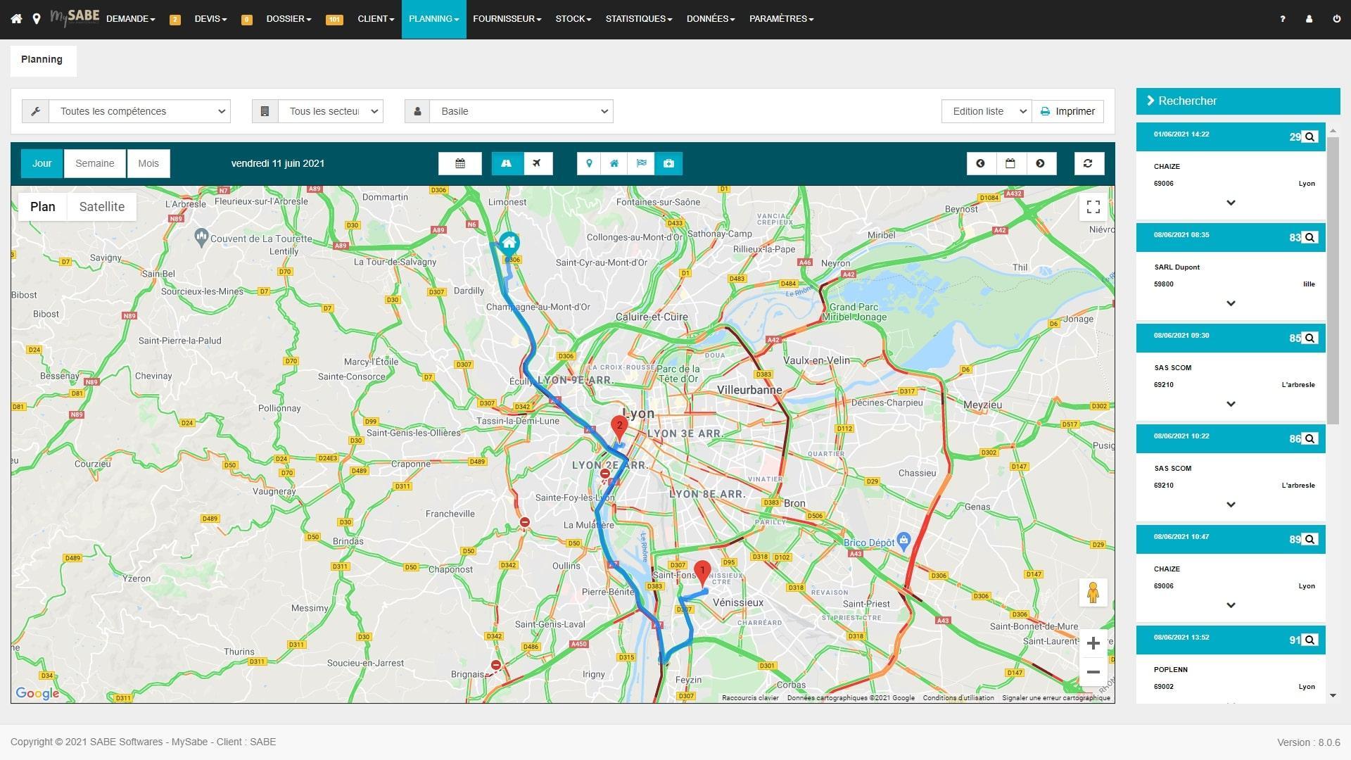 Géolocalisation du trafic