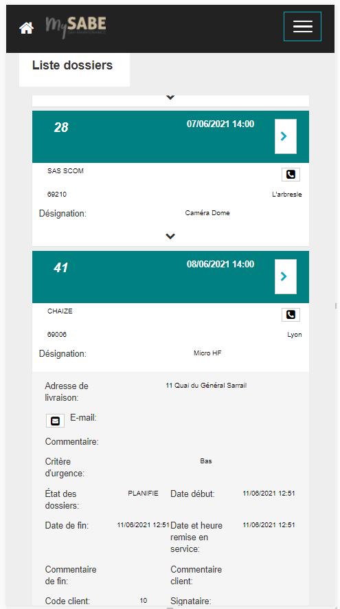 Liste de dossier sur mobile
