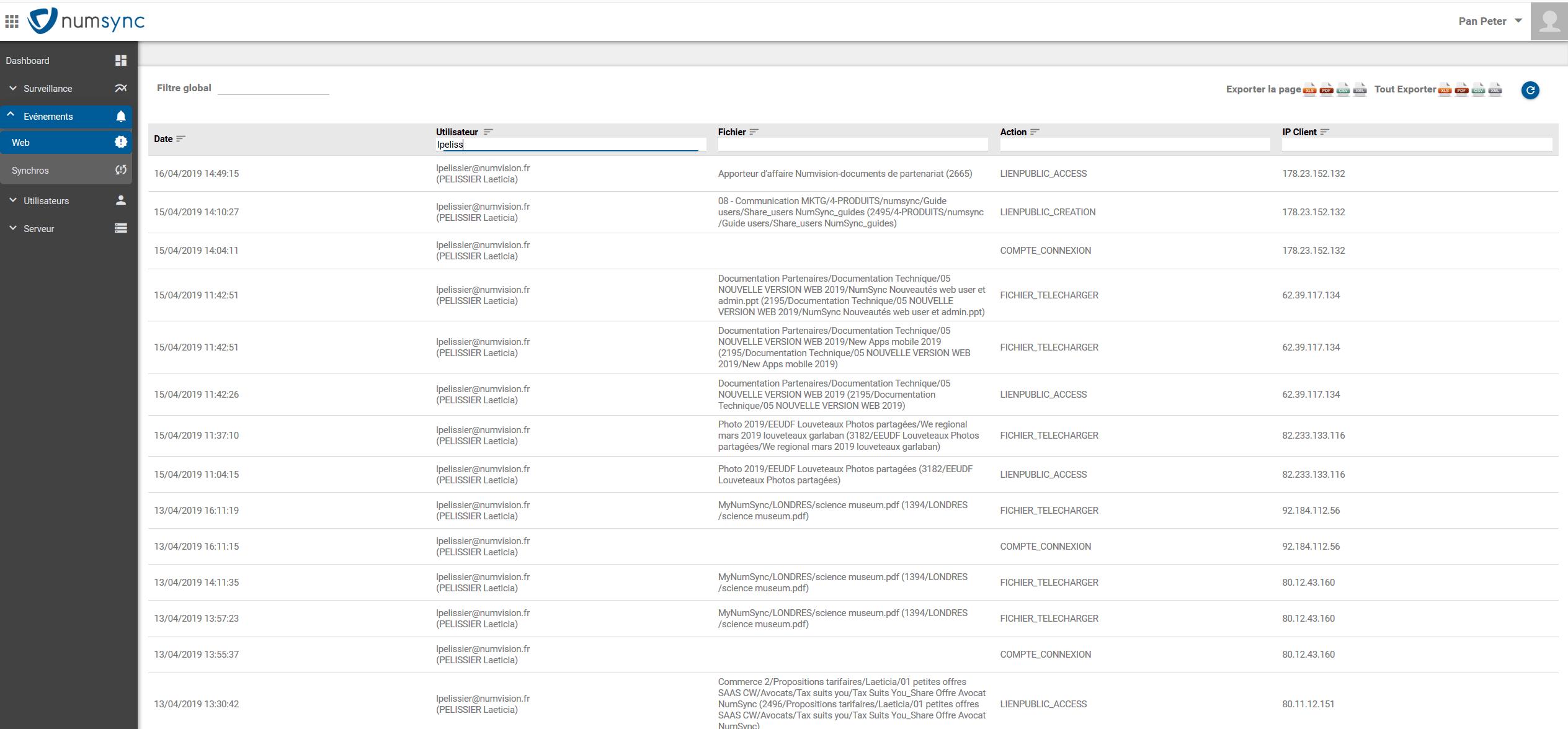Tous les évènements web, synchro sont visibles dans la console admin