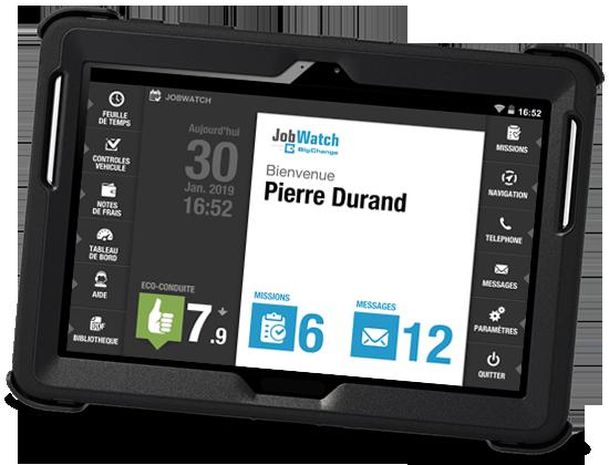 Application mobile de gestion d'intervention Workflows paramétrables Messagerie intégrée Module Eco-conduite Feuilles de temps Déclaration de frais