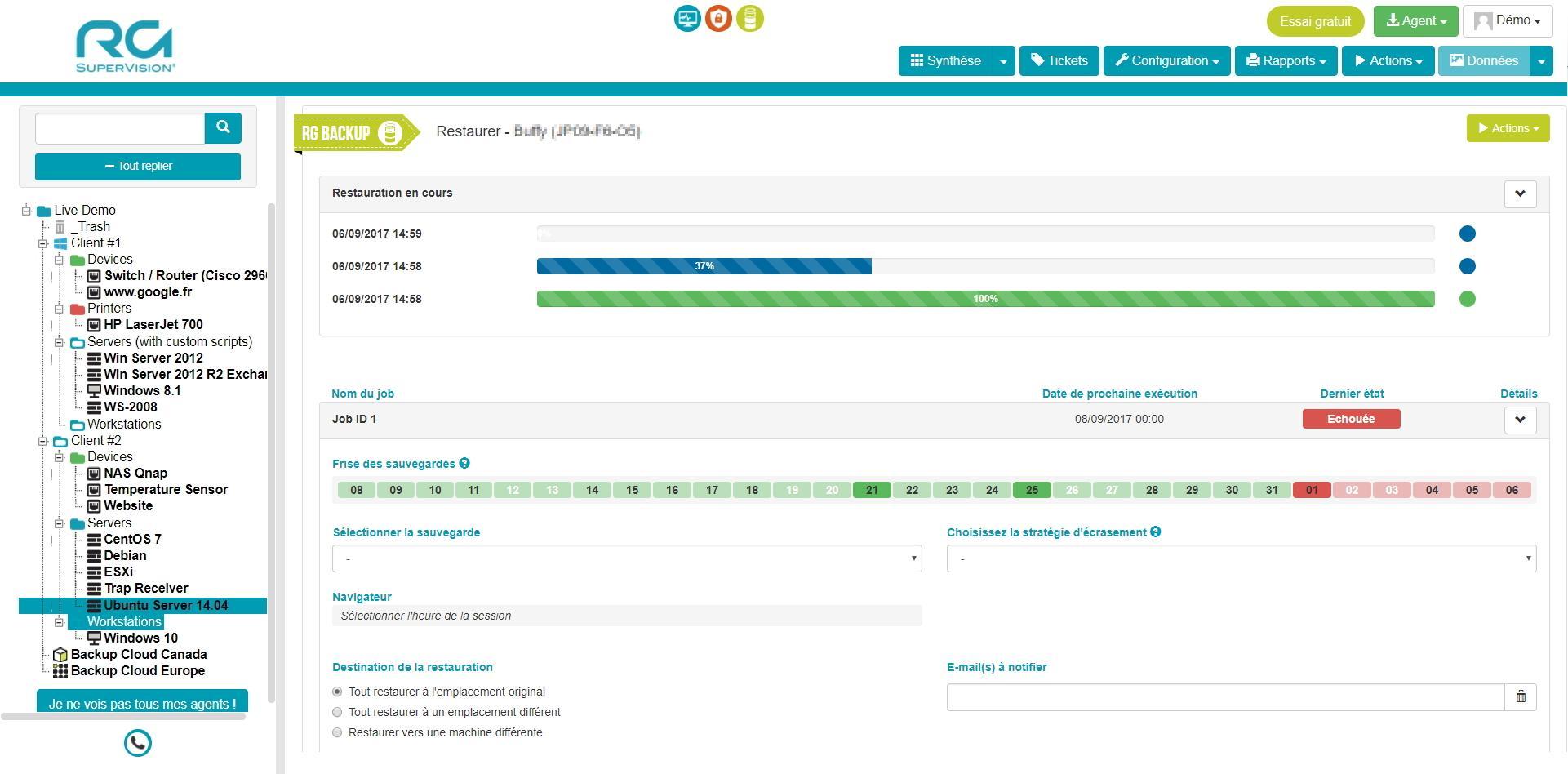 Restaurez instantanément les données sur un choix de versions selon la date de sauvegarde
