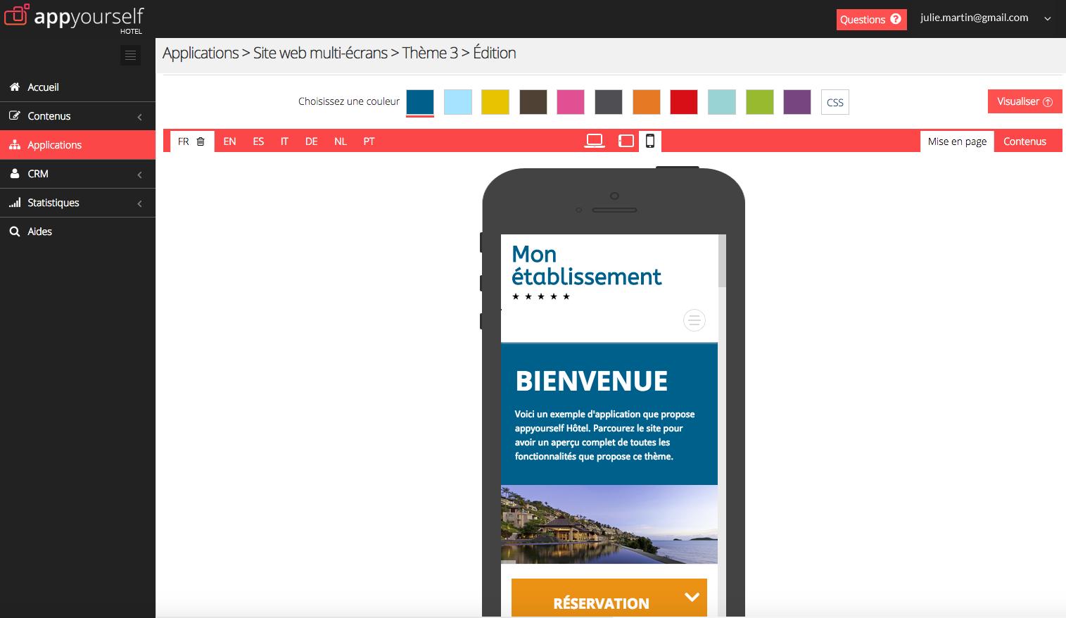 appyourself: Menus et navigation, Support (téléphone, email, ticket), Gestion de contacts