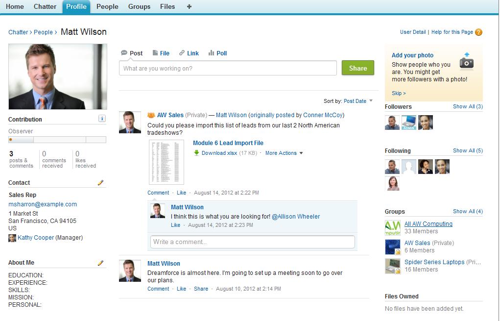 Chatter: Notes, Publication et partage de contenu, Conversations et posts