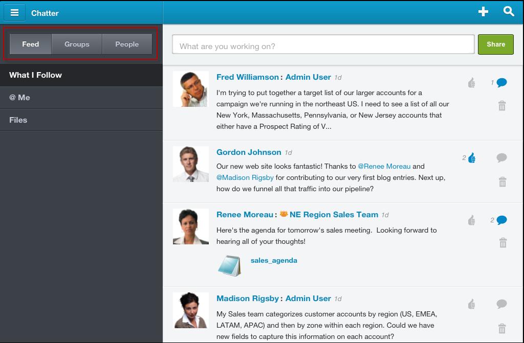Chatter: Standard d'encodage avancé (AES), Intégration aux réseaux sociaux, Conversations et posts