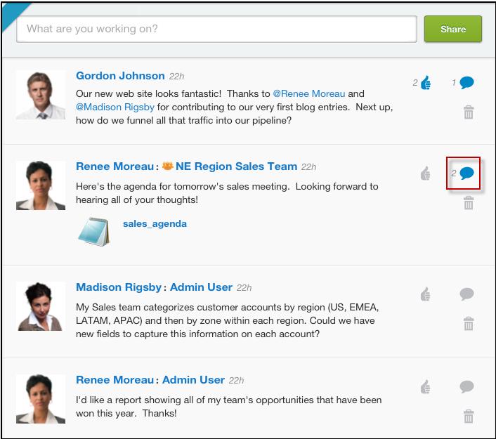 Chatter: API, Web service, Contacts partagés, Fil d'actualités