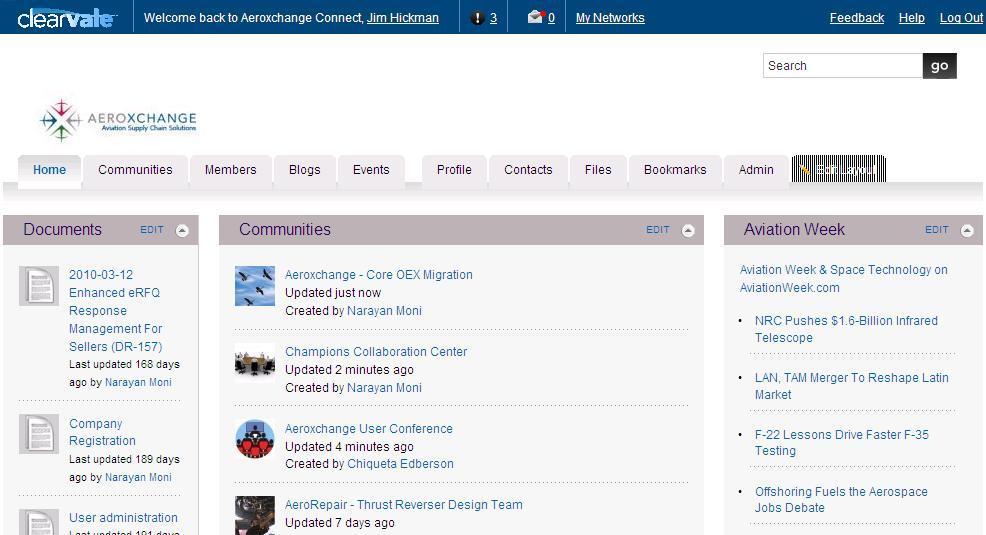 Clearvale: Notifications, Profil utilisateur partagé, Extranet