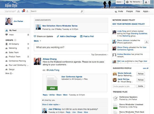 Yammer: Publication et partage de contenu, Base de savoir, wiki, Secure Sockets Layer (SSL)