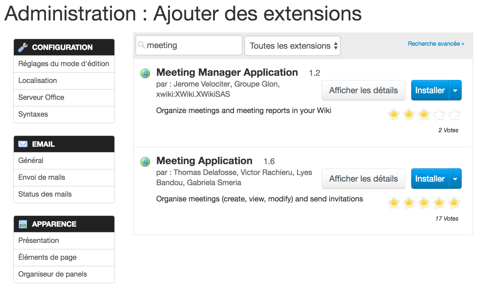 XWIKI-gestionnaire d'extensions