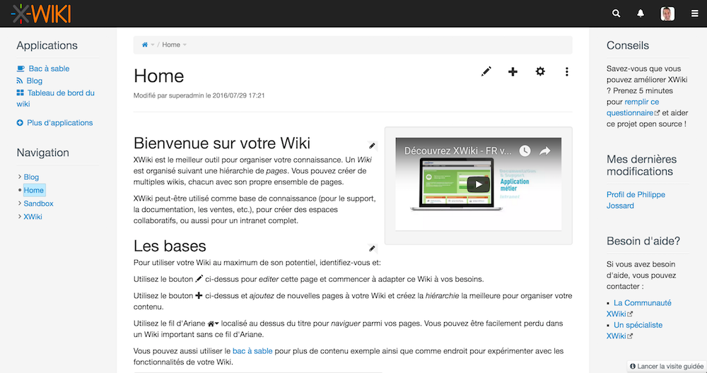 XWIKI-page d'accueil